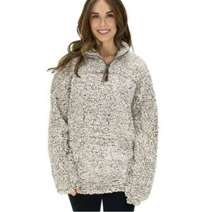 True Grit Grey/Cream Fuzzy Pullover 1/4 Zip